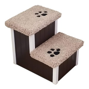 "Stop The Wobble| Wobble Resistant Wood Dog Stair| For Pets 5-50 Lbs | 15""H X 14""W X 18""D 
